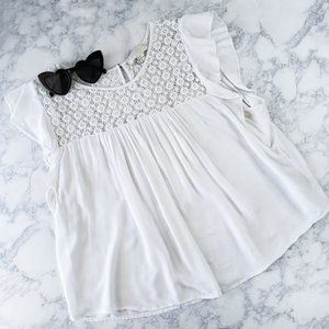 F21 Top White Lace detail Cap Sleeve SZ 2X